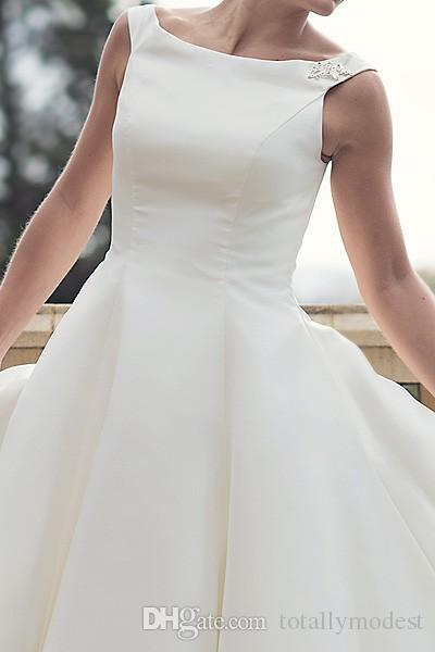 60er Jahre Vintage Kurzer Tee Länge Brautkleider Einfaches Boot Hals Ballkleid Satin Sleeveless Rezeption Frauen Zweite Hochzeit Brautkleider