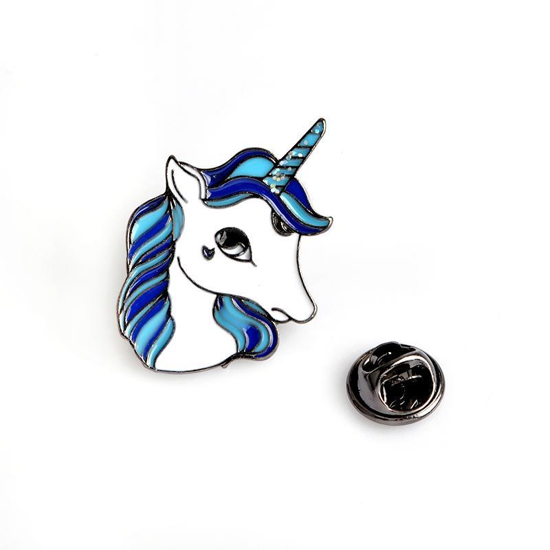 Fashion Unicorn Brooch Pins Button Metal Enamel Animal Horse Denim Jacket Collar Badge for Women Girl Men Forest Jewelry Gift