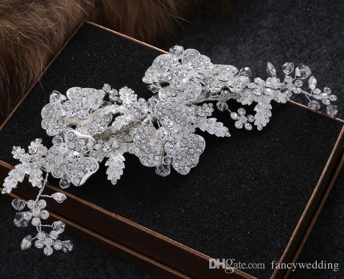 Neue Mode Vintage Hochzeit Braut Kristall Strass Perle Perlen Haarschmuck Stirnband Band Krone Tiara Band Kopfschmuck Schmuck 02