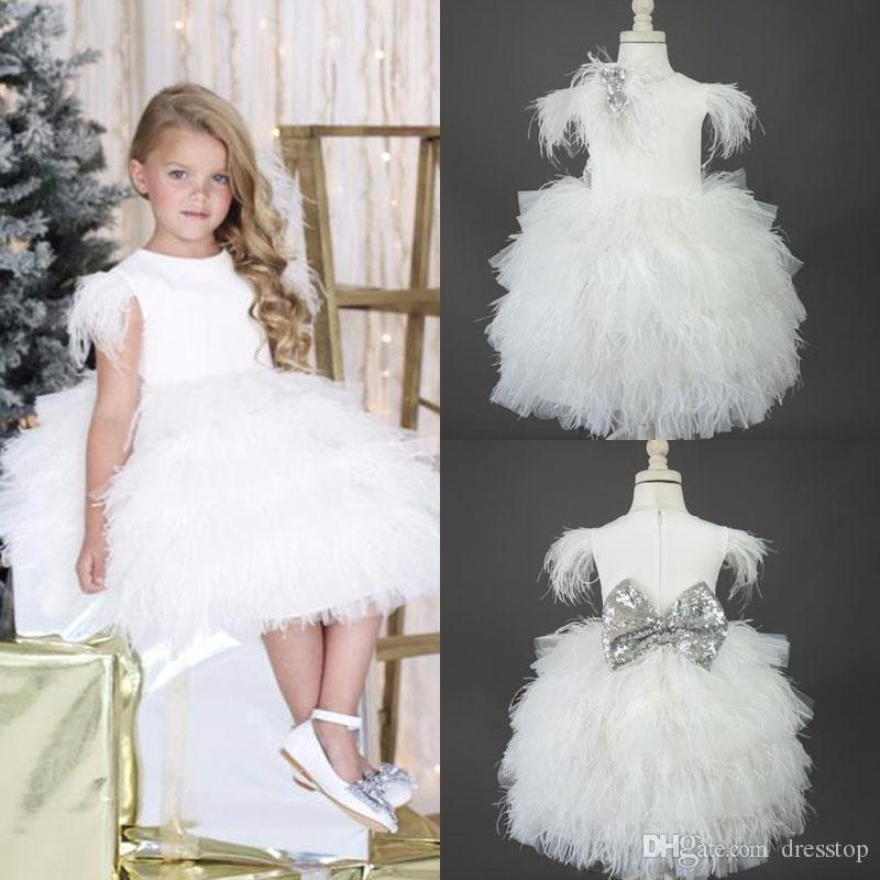 White feather flower girl dresses special occasion for weddings white feather flower girl dresses special occasion for weddings jewel neckline knee length tiered kids pageant gowns communion dress lemon flower girl mightylinksfo