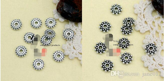 Acessórios de jóias de Prata Tibetano Retro Spacer Beads Descobertas Estilos Mistos Mão bead string para Pulseiras