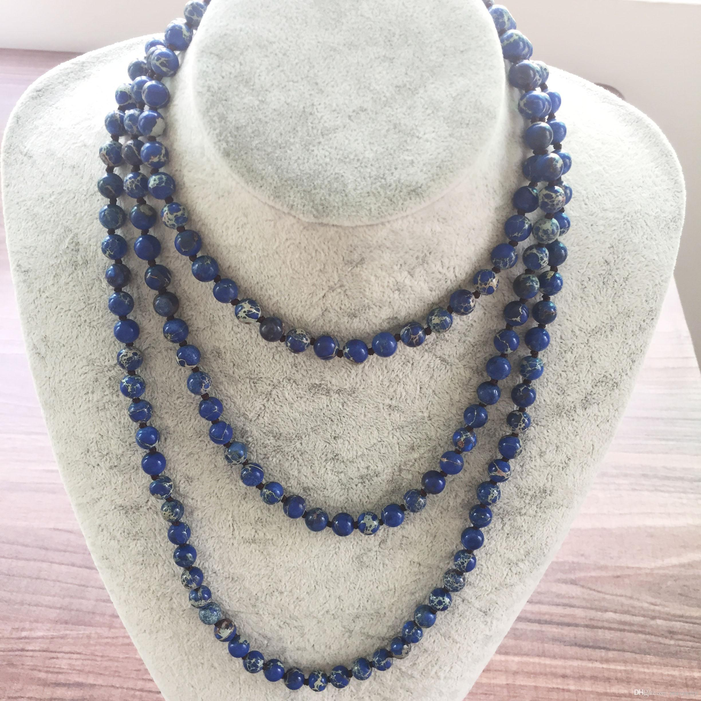 42inch Long Necklaces Hand Knotted Nature Stone 8MM Blue Regalite Necklace Endless Infinity Beaded Yoga Mala Beads