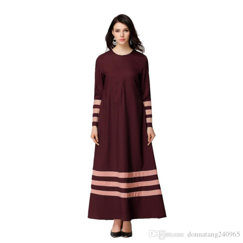 2017 New Islamic Muslim Dresses For Women Long Maxi Robe Malaysia Abayas In Dubai Turkish Ladies Clothing Women Muslim Dresses