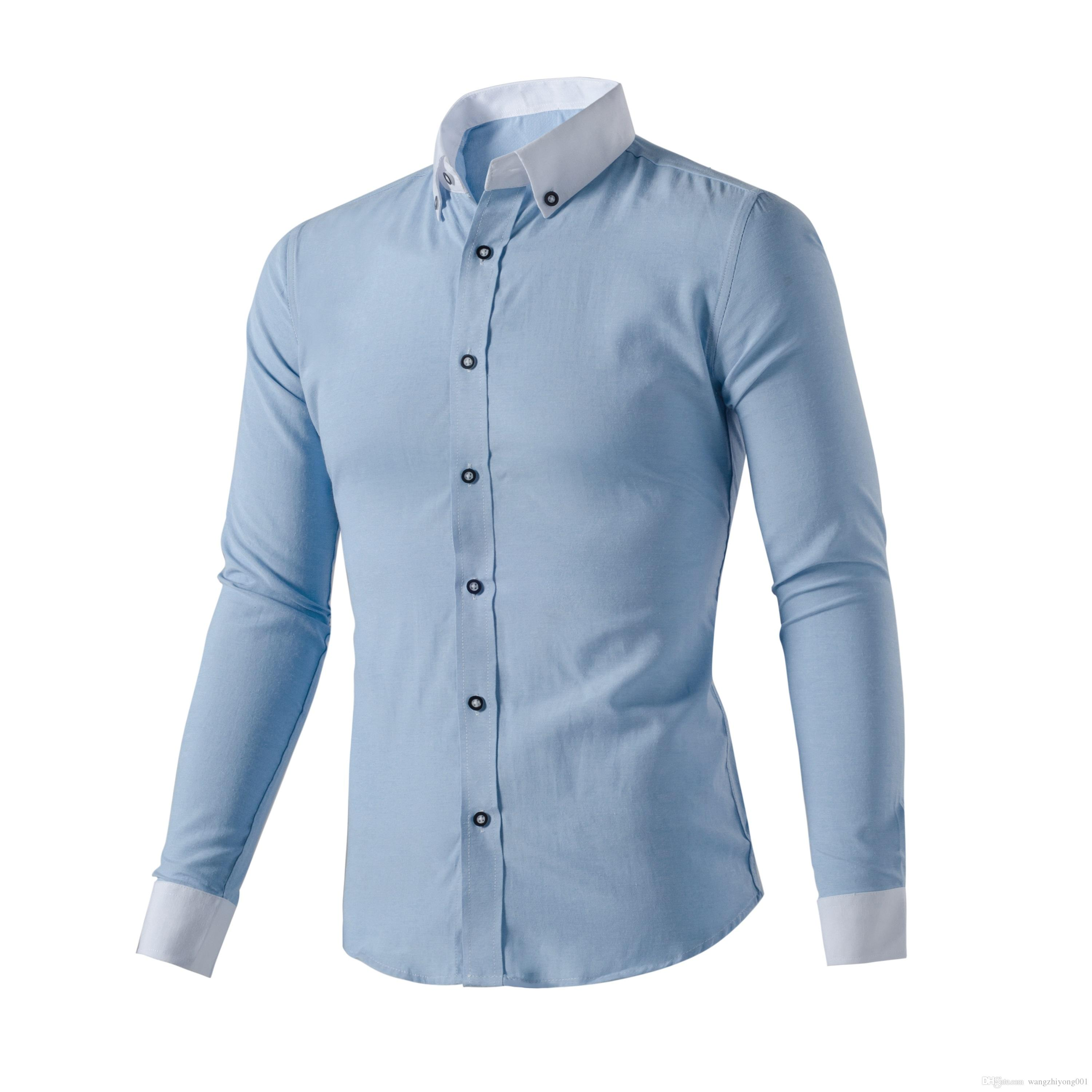 Best 2017 new spring cotton shirts men high quality long for High quality mens shirts