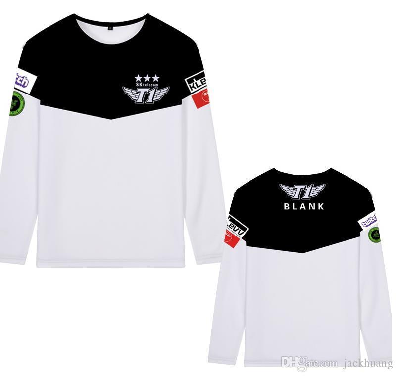 SKT T1 Faker Bengi Blank Duke Bang Wolf Cosplay Printed Tee Polyester Long Sleeve T-Shirt