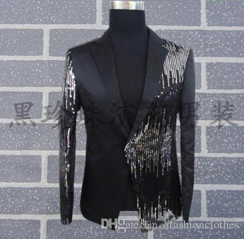 a983ffc96617 2019 Black Men Suits Designs Masculino Homme Terno Stage Costumes For Singers  Men Sequin Blazer Dance Clothes Jacket Style From Afashionclothes, ...