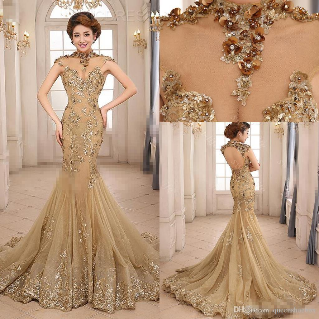 2017 Luxury Mermaid Evening Dresses Backless Court Train Sequin Sheer Neck See Through Formal Prom Dress Beauty Queen Pageant Dress Gowns