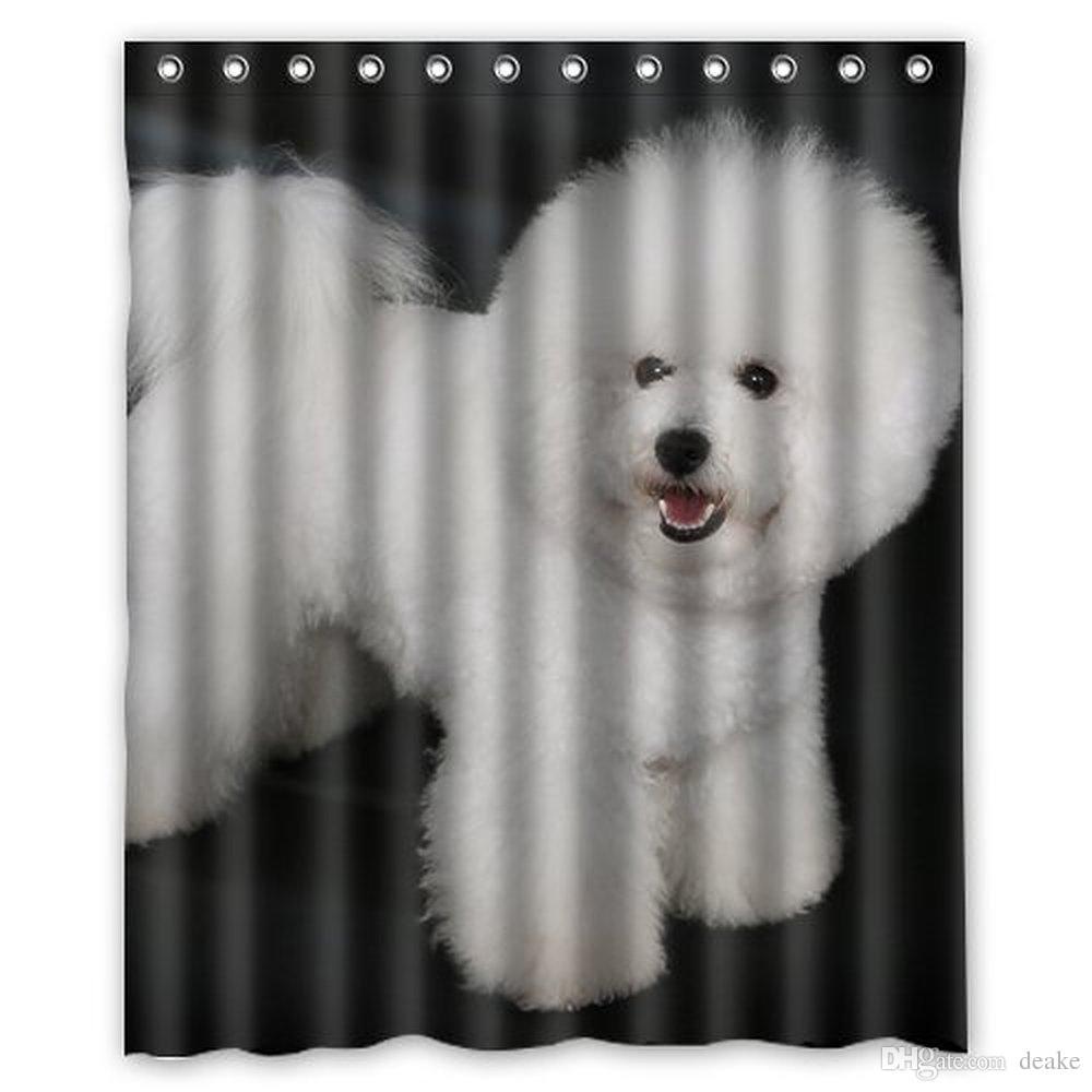 2018 Wholesale Bichon Frise Cute Puppy Dog Shower Curtain 60 X 72 Inch Bathroom From Deake 2867