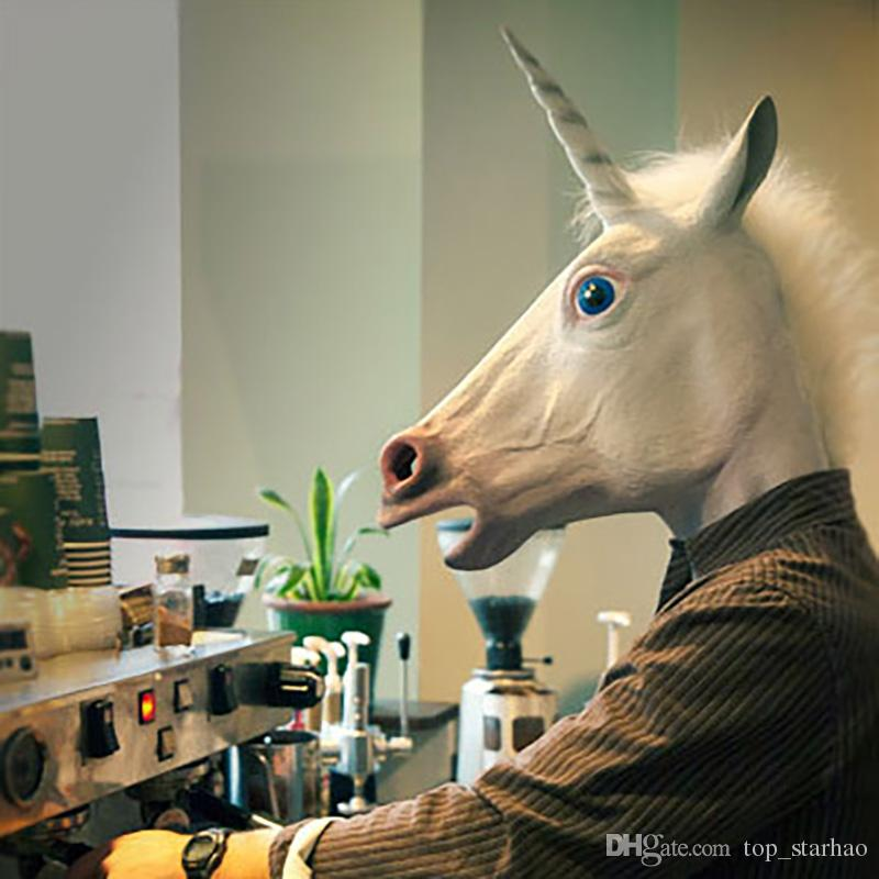 Hot Creepy Unicorn Horse Mask Head Halloween Costume Theater Prop Novelty Latex Rubber XL-243