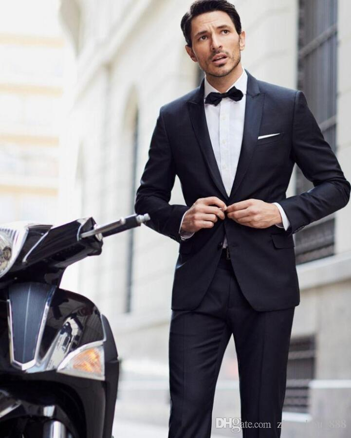 wedding suits for men Black Leisure prom Hot sale Men's morning dress lapel groom suits two-piece jacket+pantsfashion style