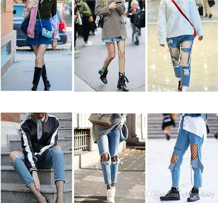 Liberi la nave 10 accoppiamenti 5 disegni Calze a rete dei jeans delle donne di modo Calze femminili della maglia Calze ad alta calze del ginocchio della rete