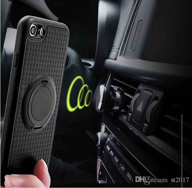 360 Stand Magnetic Car Ring Holder Iface Case Soft TPU Phone ShockProof Back Cover for iphone X 8 7 6 6s plus Cellphone Case Samsung S8 plus