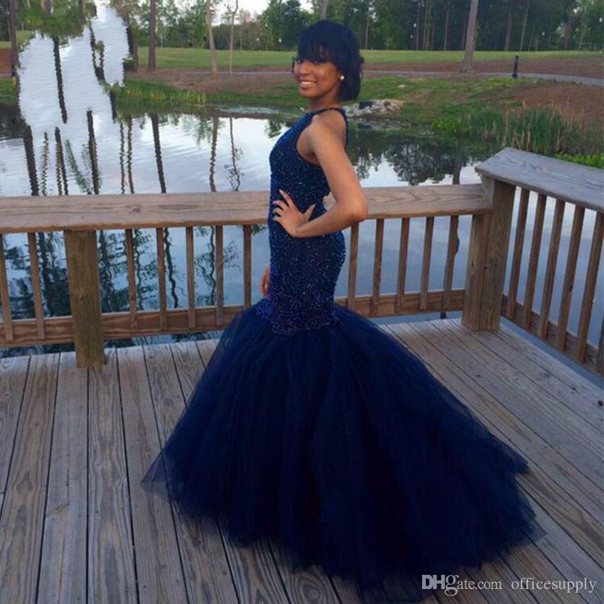 Lacivert Gelinlik Modelleri 2018 Seksi Geri Mermaid Binbaşı Süpürgelik Akşam Parti törenlerinde Hint Siyah Kız Elbise Vestido De Festa Kadınlar Için Özel