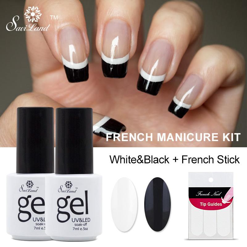 Wholesale saviland french manicure set nail art black white uv gel wholesale saviland french manicure set nail art black white uv gel nail polish free tip guides soak off french gel polish uv nail gel bio sculpture gel solutioingenieria Image collections