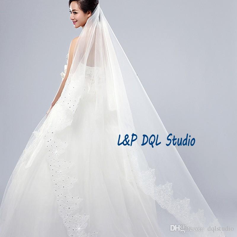Stunning Long Wedding Veils Soft Tulle with Floral Applique 2017 Long Wedding Accessories Bridal Veils 3m Long Cheap