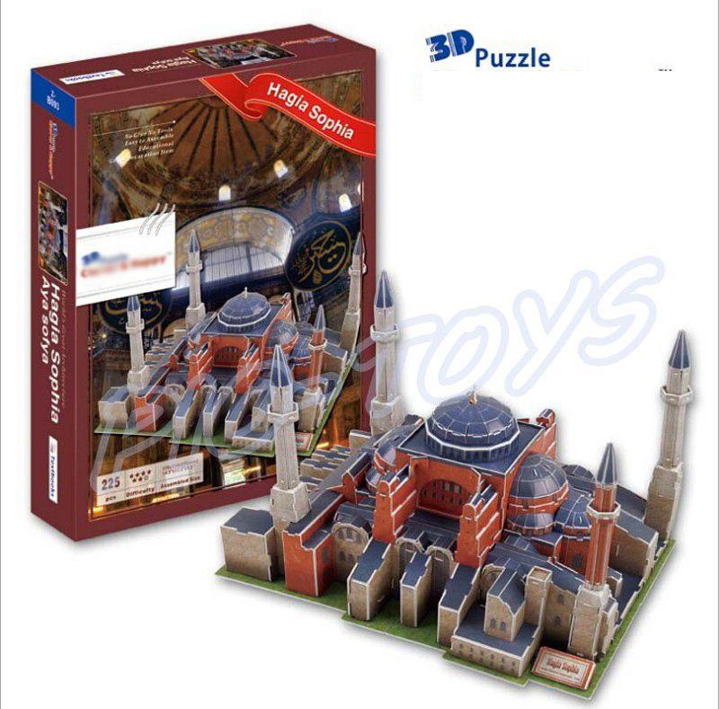 السنة الجديدة هدية آيا صوفيا الكنيسة 3d لغز ورقة بناء مربع لغز لعبة scrable لغز diy متعة لمحبي جمع لعبة