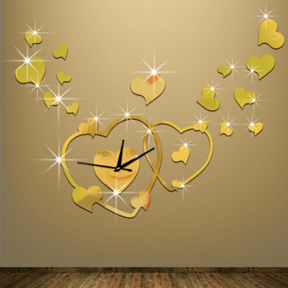 Wholesale New Arrival Heart Mirror Wall Clock Diy Art Home Decor For ...