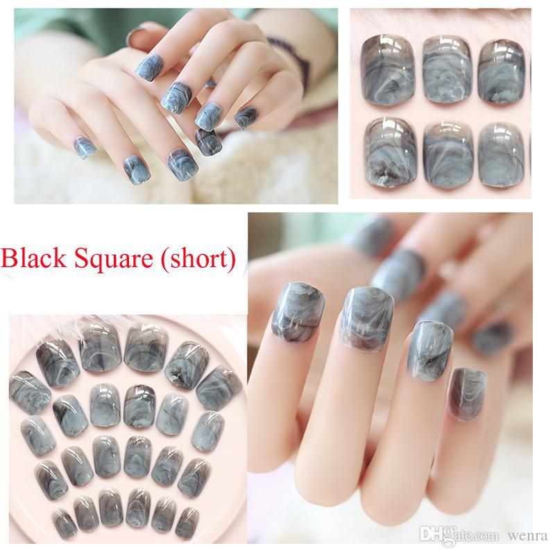 Wholesale Newest Marble Design Fake Nails French Artificial Nails ...