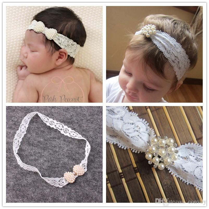 European Baby Girls Lace Headbands Kids Elastic Shiny Pearl Rhinestone Hairbands Princess Children Headdress Party Hair Accessories KHA473