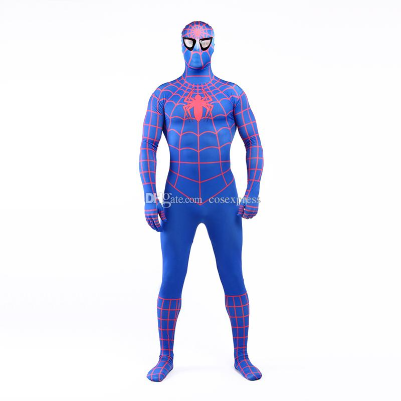 Real Photo 2017 Blue and Red Lycra Spandex Full Body Zentai Suit Costume Superhero Spider-man Cosplay Costume For Halloween