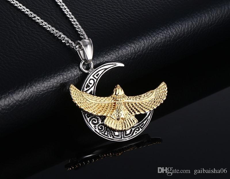 Männer Punk Hawk Halskette Vergoldet Eagle Anhänger Biker Halskette KOSTENLOS 24 Zündkette Homens Colar PN-563