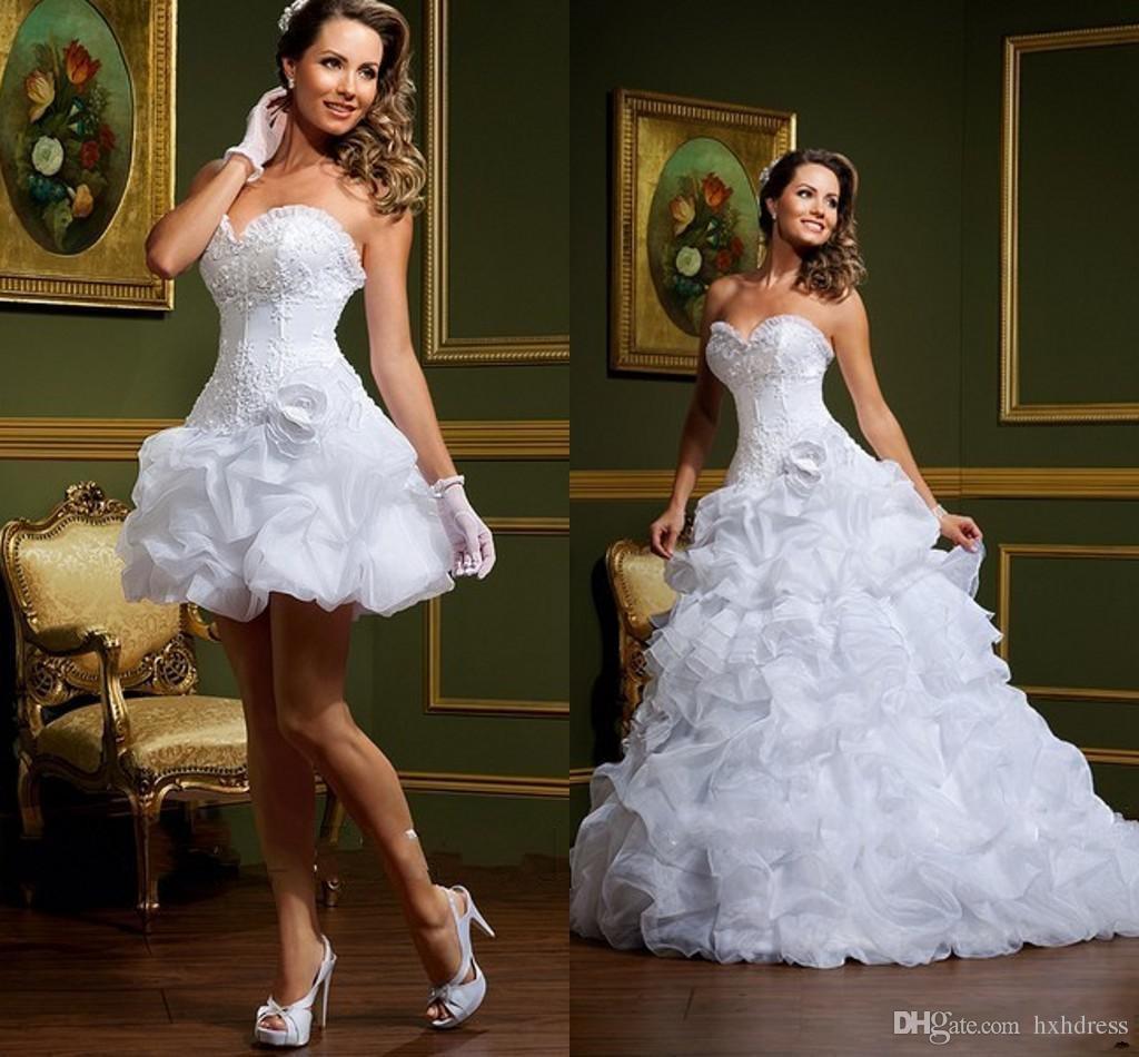 2020 مثير فستان دي noiva الأبيض فساتين الكرة ثوب الزفاف حمالة الحبيب اللواري القابل للإزالة تنورة العربية البسيطة قصيرة أثواب الزفاف 357