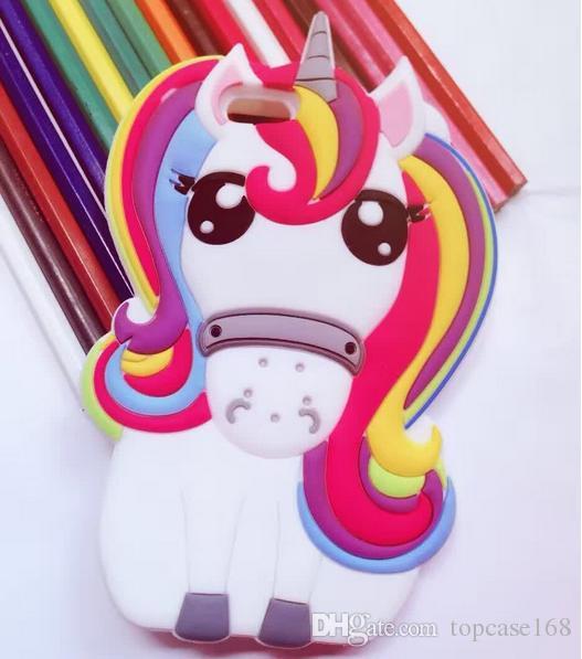 Cute 3D Rainbow Unicorn Horse case Animal Cartoon Soft Silicone Cases Cover For iPhone 7 7Plus 5 6 Plus LG K8 V10 S7