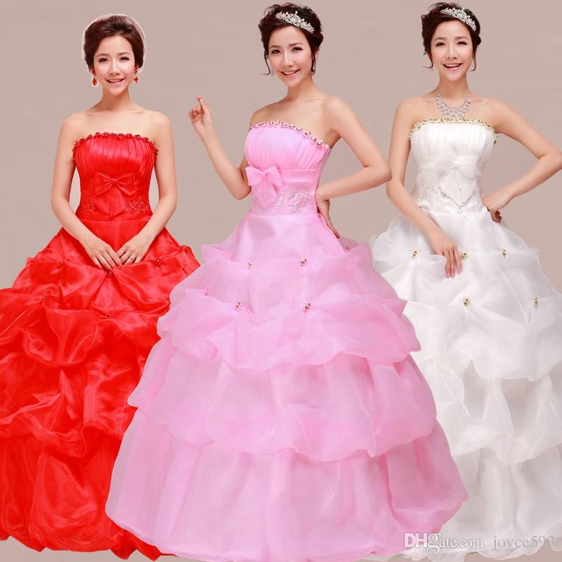 Korean Lace Up Ball Gown Strapless Pink Wedding Dresses 2017 Plus ...