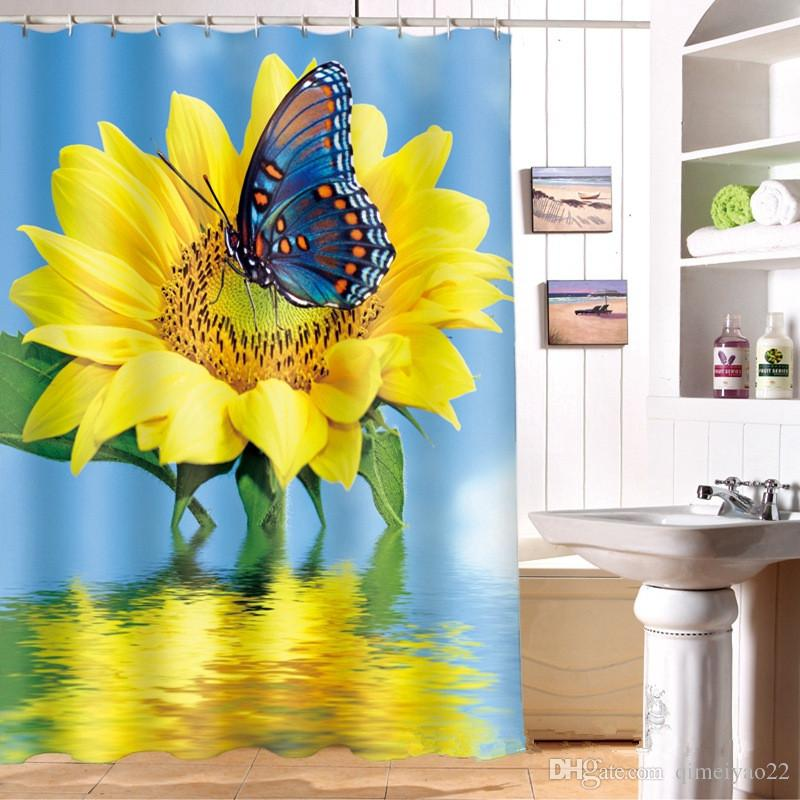 2019 180cm180cm Sunflower In Water Reflection Shower Curtain Personalized Waterproof 3D Polyester Digital Printing Bath From