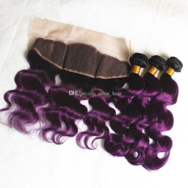 Hot Selling Ombre Color #1B Purple Body Wave Virgin Human Hair Extension With Ear To Ear Lace Frontal closure 13*4