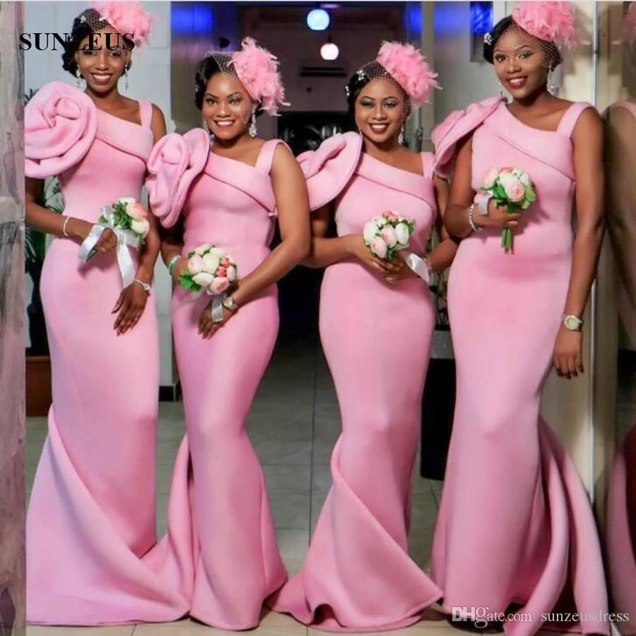 Black women long pink bridesmaid dress mermaid style sleeveless black women long pink bridesmaid dress mermaid style sleeveless wedding party gowns with big flower formal wear print bridesmaid dresses romantic bridesmaid ombrellifo Choice Image