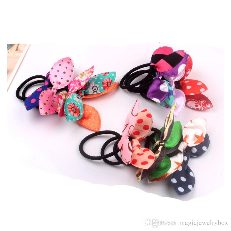New Elastic Hair Ties Hair Bands Bunny Rabbit Ears Style Bows HairBands  Stripes Dots Girls Ponytail Holder Pony Girl Rubber Hair Accessories Canada  2019 ... 9b6f24c1387