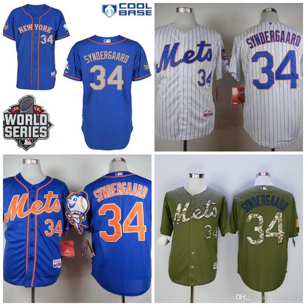 best sneakers 25643 04e96 mens new york mets 34 noah syndergaard blue jersey with 2015 ...