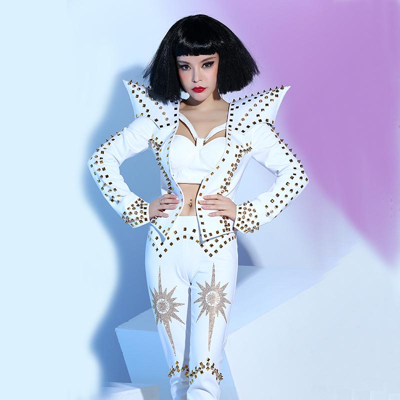 7044e8be25 Singer DS nightclub bar costumes new white rivet fashion costumes 3 pieces  sets super star prom stage performance clothing show jazz DJ DS