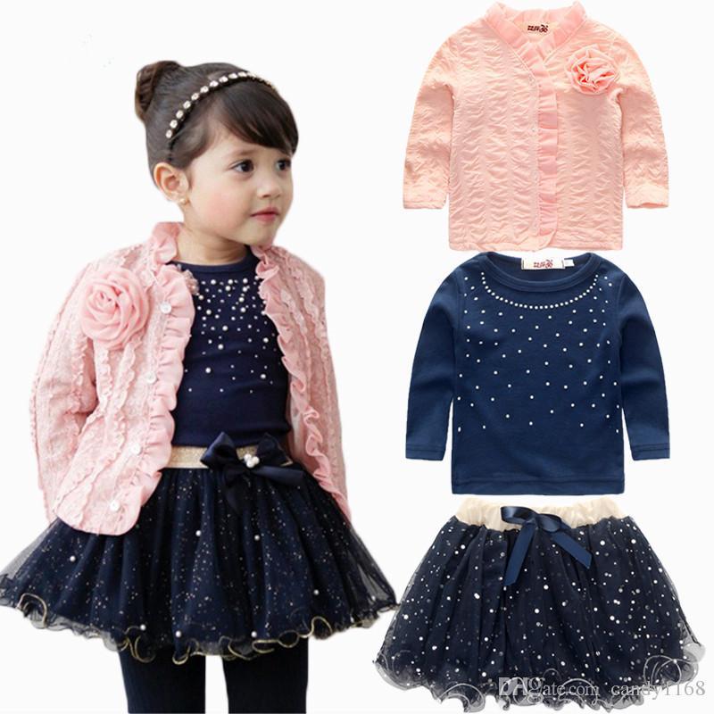 Wholesale New Kids Outfits Baby Girls Clothing Sets Coat+T-shirt+Skirt Dress Tutu Princess Kids Clothes Set Suit Pink Costume
