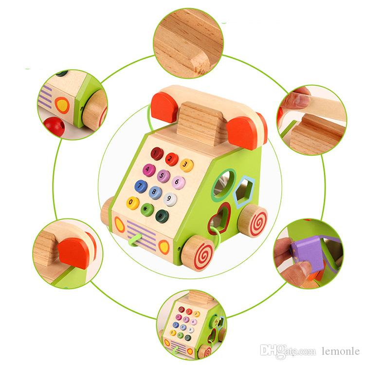 wooden landline phone kid figure learning fingers and talking expression trainning toy