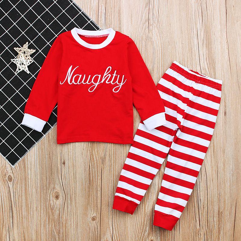 2017 طفل الفتيان الفتيات منامة الاطفال طويلة الأكمام عيد الميلاد pjs القطن منامة الأطفال الخريف الملابس مجموعة