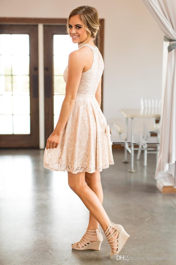 Allık Tam Dantel Gelinlik Modelleri 2018 Ülke Kısa Diz Boyu Ile İnciler Jewel Boyun Fermuar Geri Batı Hizmetçi Onur Elbise Özel