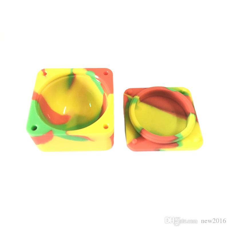 Square Secure Seal Silicone Dab Containers Dab Bho Non Stick Jar 37 Ml Large Silicone Container