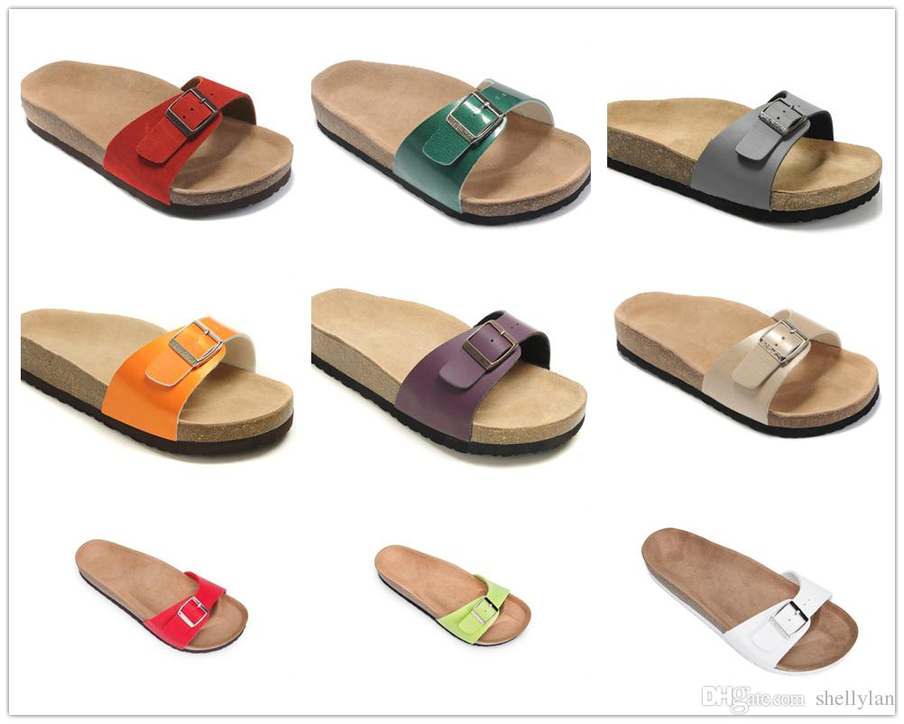 3a8bdd89dc5f Famous Brand Madrid Men S Flat Heel Solid Slipper Sandals Women Multaicolor  Classcis Summer Casual Shoes Buckle Genuine Leather Slippers Girls Sandals  White ...