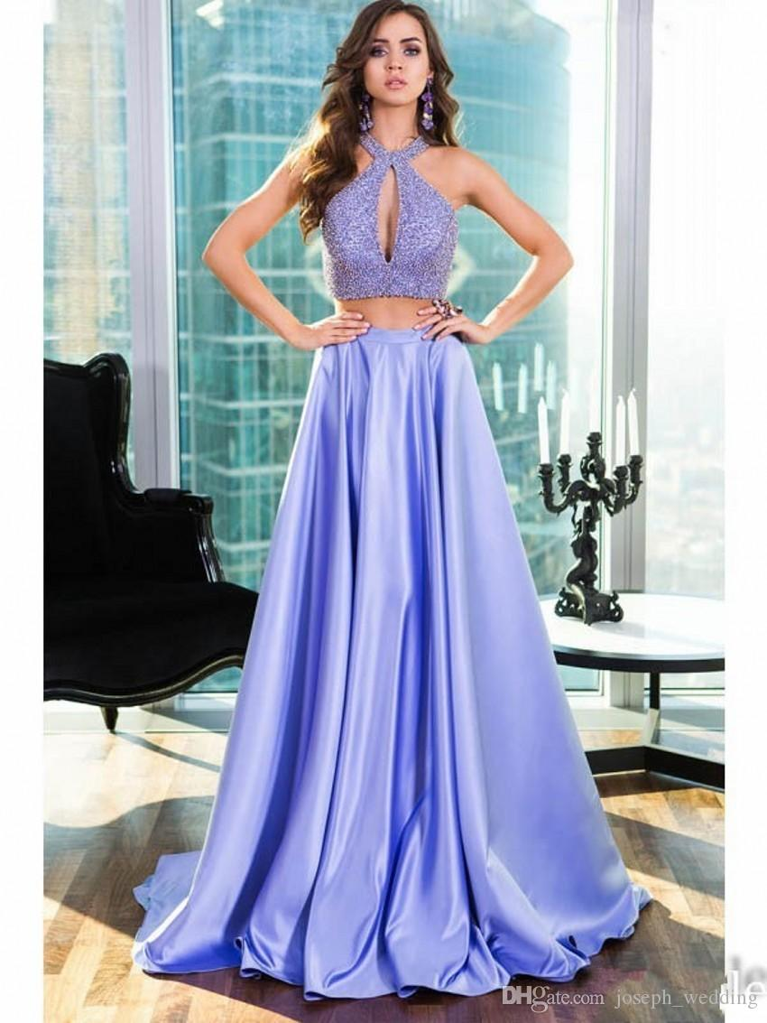 Hot Sale Two Piece A Line Satin Long Evening Dresses 2017 Halter Off ...