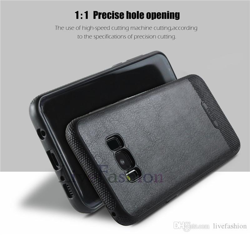 Novo design de volta case para samsung galaxy s8 além de s7 s6 borda de Couro Costura Casos de telefone celular TPU Protetora Dirtproof Capa À Prova de Choque
