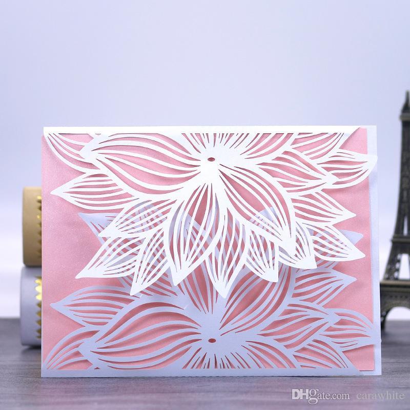 Red White Laser Cut Luxury Flora Wedding Invitations Card Elegant – Red White Wedding Invitations