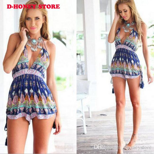 2017 Summer Beach Vacation Camisole Jumpsuit Pagliaccetto Backless Women Flower Stampato con scollo a V Confortevole Short Playsuits