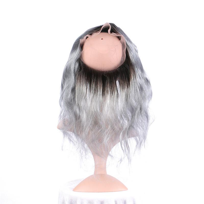 Virgin Peruvian Silver Grey Ombre Human Hair Bundles With Body Wave T1B/Grey Ombre 13x4 Full Lace Frontal Closure