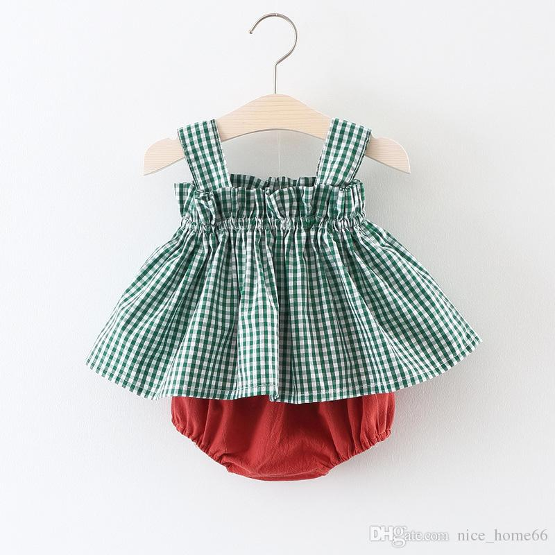 Summer Baby Girls 2Pcs Sets Plaid Sleeveless Vest Dress+Shorts Bloomers Kids Girls Outfits Baby Clothing Sets