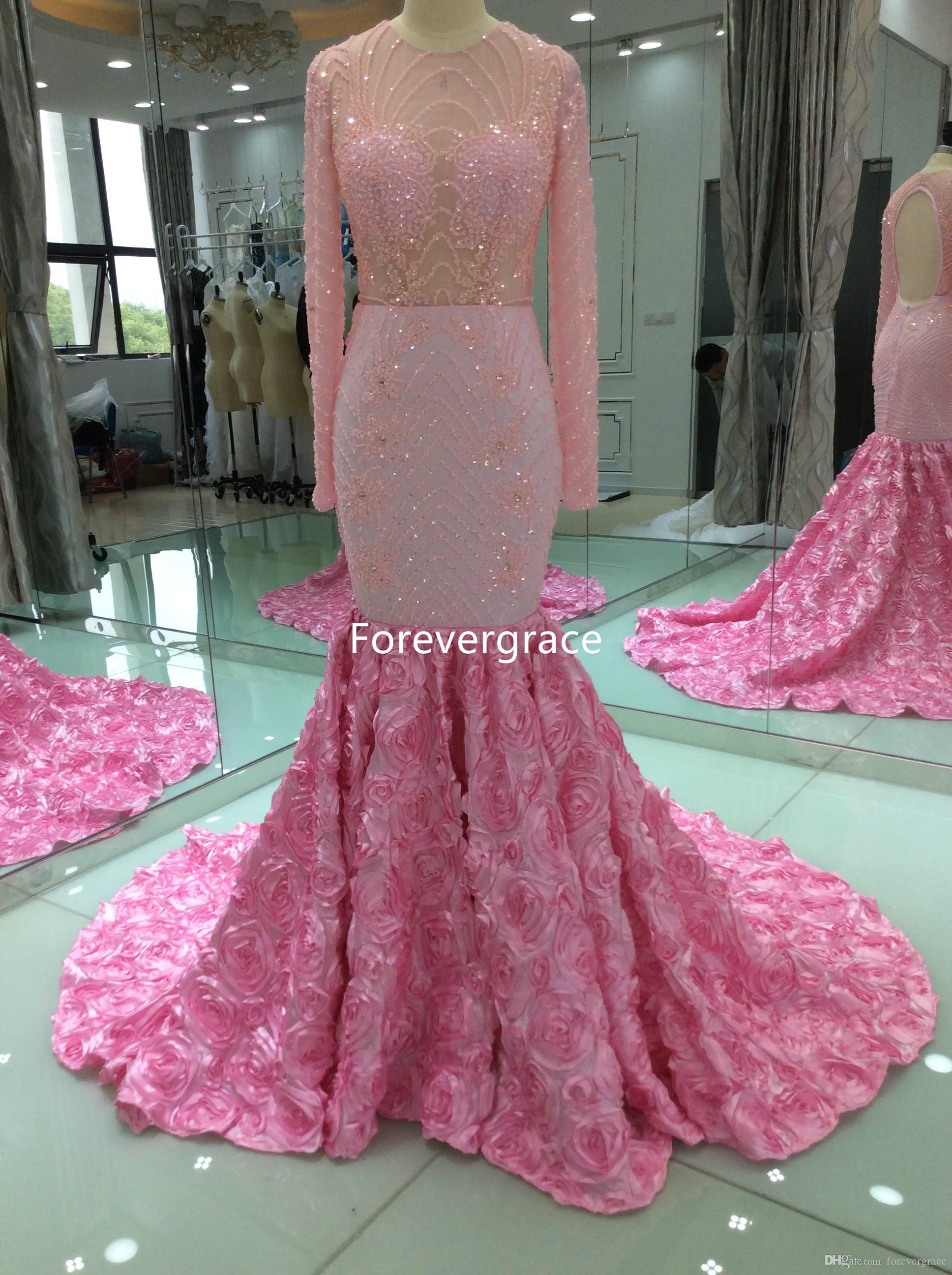 2ef1fc148d89 2017 Real Photos Pink Colour Mermaid Prom Dress Sexy Beaded Crystals Long  Sleeves Party Gown Custom Made Plus Size Xscape Prom Dresses 1950s Prom  Dresses ...