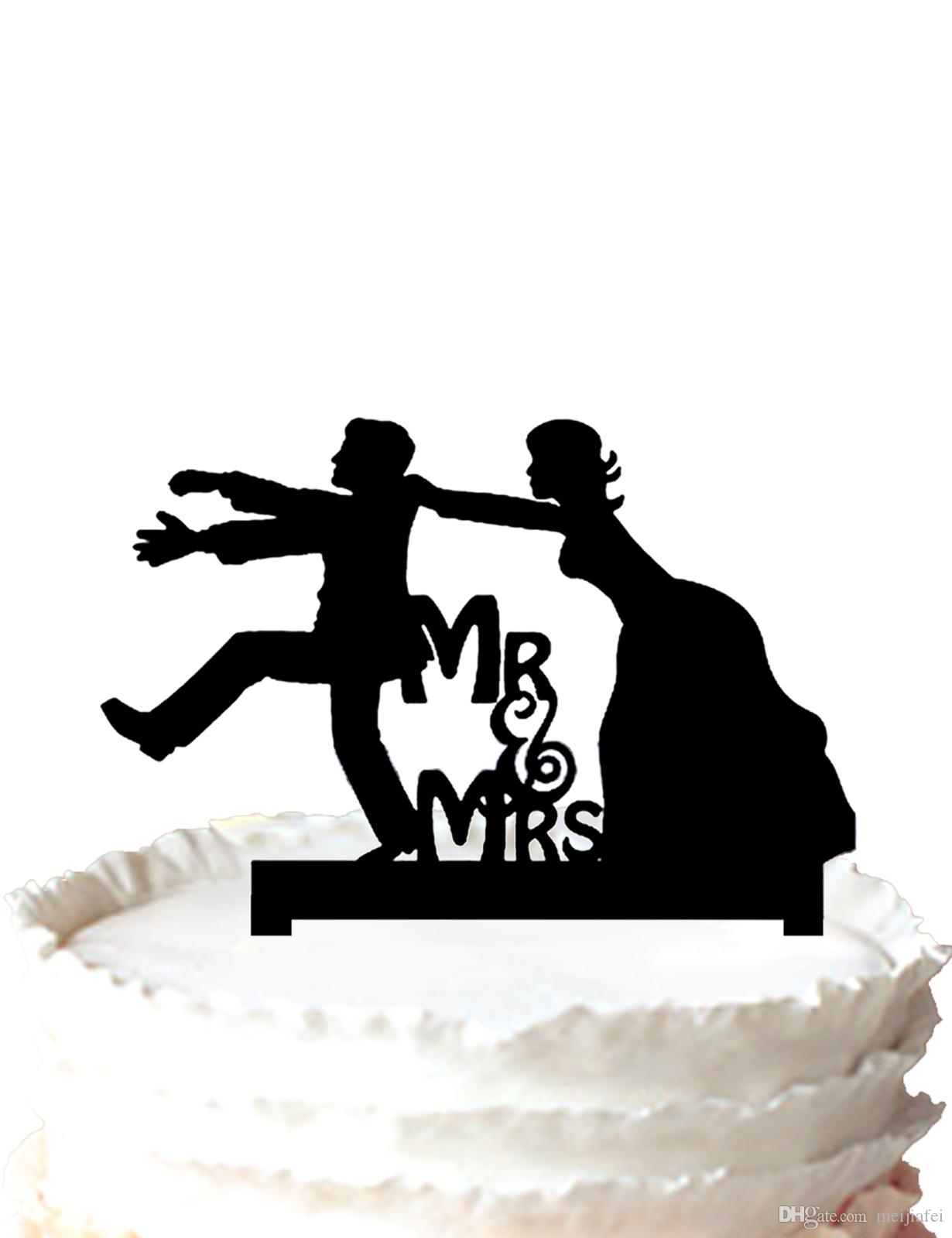 2019 Wedding Cake Toppers Funny Bride And Groom Silhouette Mr And