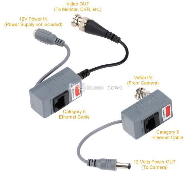 Accesorios de la cámara CCTV Transmisor de audio y video Balun Transceptor BNC UTP RJ45 Video Balun con audio y alimentación por cable CAT5 / 5E / 6