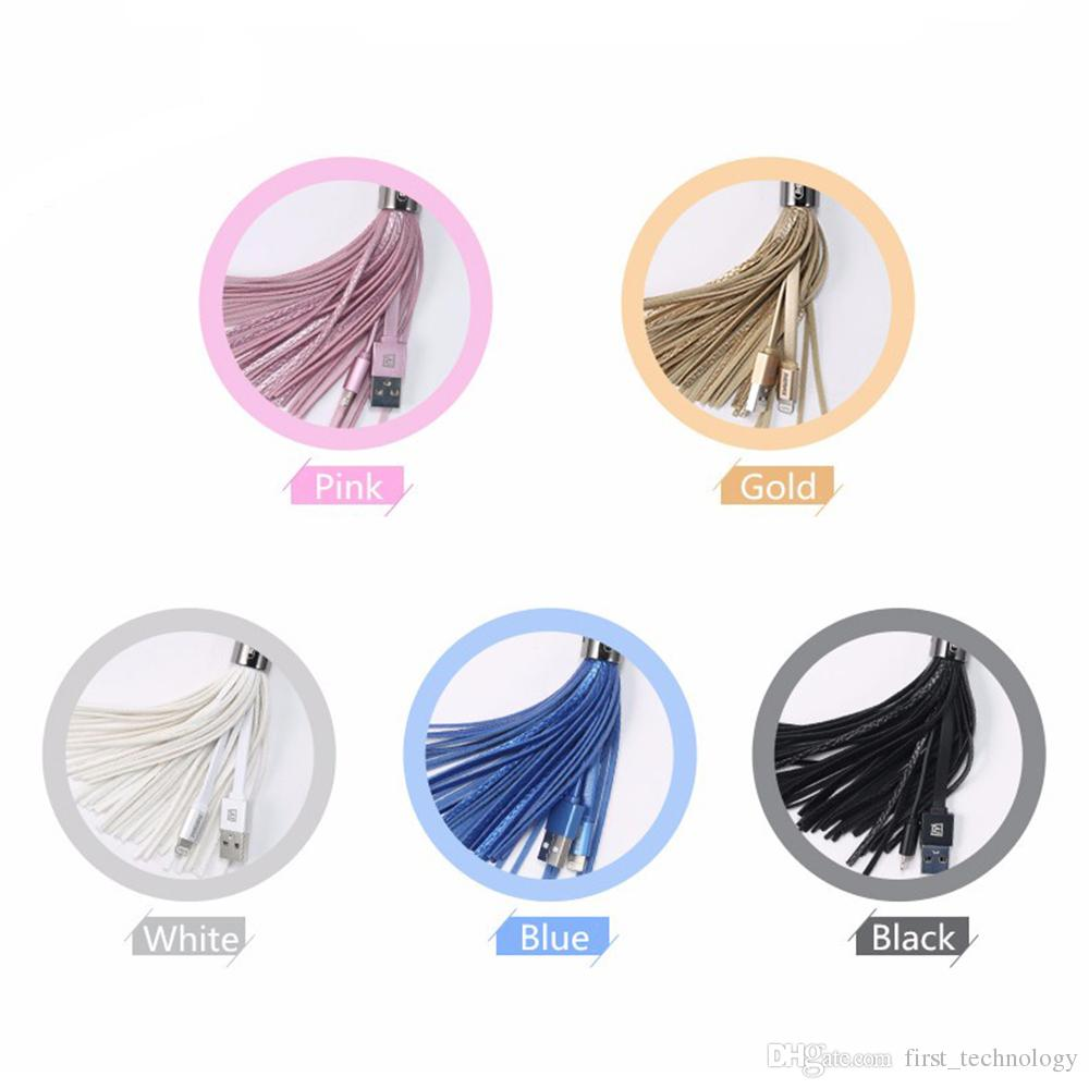 USB Cable for iPhone Leather tassel Keychain fast charger Metal keyring Data cable for iPhone 7\6\5 Samsung